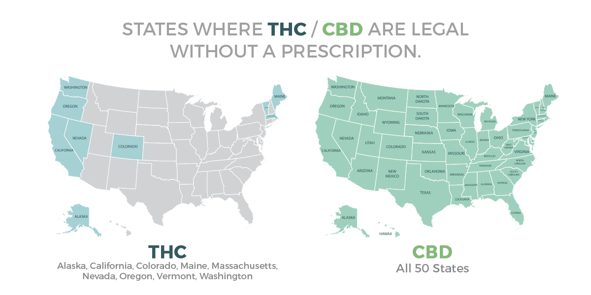 states where thc cbd is legal without prescription